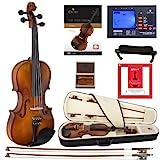 Cecilio CVN-320L Violine aus Ebenholz mit D'Addario Prelude Saiten für Linkshänder 3/4-size Lack