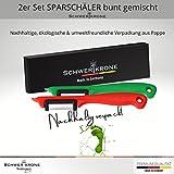 Schwertkrone Sparschäler Kartoffelschäler, 2er Set - Rechts und Linkshänder, bunt gemischt, Solingen Germany - Zufällige Farbe - 4