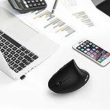 Jelly Comb Ergonomische Funkmaus für Linkshänder, Vertikale Kabellose Maus DPI 800/1200/1600 Einstellbar mit USB Empfänger für Laptop, PC, Notebook, Schwarz - 4