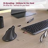 Hama kabellose Maus für Linkshänder ergonomisch EMW-500L (Wireless Funkmaus vertikal, links, 6-Tasten-Maus ohne Kabel mit optischem Sensor 1000/1400/1800 dpi), schwarz - 7