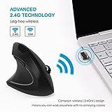 Jelly Comb Ergonomische Maus für Linkshänder, Kabellose Vertikale Lautlose Funkmaus für Laptop, PC und Notebook, 6 Tasten, DPI 800/1200/1600, Schwarz - 5