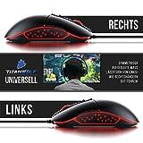 Titanwolf - Gaming Maus für Rechts- und Linkshänder - Mouse Flawless Pixart 3310 Sensor - 5 DPI-Stufen - 5 Benutzerprofile - 9 programmierbare Tasten - RGB Illumination - 50-5000 DPI - 3