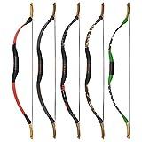 MILAEM Traditioneller handgemachter Recurve Bogen 25-55lbs Langbogen Bogenschießen Jagd Horsebow Outdoor Sport Wettbewerb Trainingsspiel Linkshänder und Rechtshänder (Braun, 50lbs) - 6