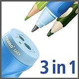 Dosen-Spitzer – STABILO EASYsharpener – 3 in 1 – blau – 3er Pack – für Linkshänder - 5